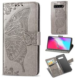 Embossing Mandala Flower Butterfly Leather Wallet Case for Samsung Galaxy S10 5G (6.7 inch) - Gray