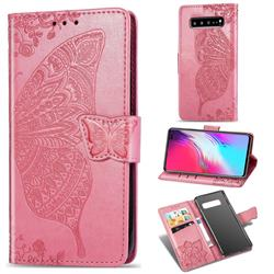 Embossing Mandala Flower Butterfly Leather Wallet Case for Samsung Galaxy S10 5G (6.7 inch) - Pink