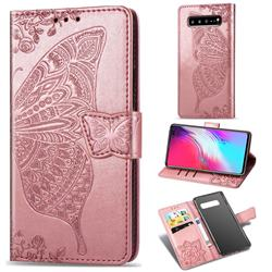 Embossing Mandala Flower Butterfly Leather Wallet Case for Samsung Galaxy S10 5G (6.7 inch) - Rose Gold