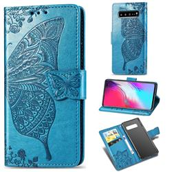 Embossing Mandala Flower Butterfly Leather Wallet Case for Samsung Galaxy S10 5G (6.7 inch) - Blue