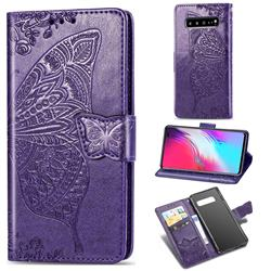 Embossing Mandala Flower Butterfly Leather Wallet Case for Samsung Galaxy S10 5G (6.7 inch) - Dark Purple