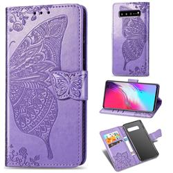 Embossing Mandala Flower Butterfly Leather Wallet Case for Samsung Galaxy S10 5G (6.7 inch) - Light Purple