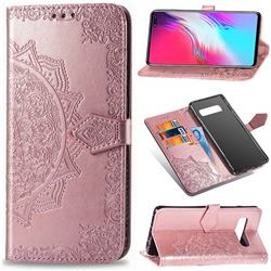 Embossing Imprint Mandala Flower Leather Wallet Case for Samsung Galaxy S10 5G (6.7 inch) - Rose Gold