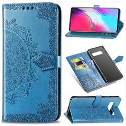 Embossing Imprint Mandala Flower Leather Wallet Case for Samsung Galaxy S10 5G (6.7 inch) - Blue
