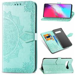 Embossing Imprint Mandala Flower Leather Wallet Case for Samsung Galaxy S10 5G (6.7 inch) - Green