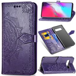 Embossing Imprint Mandala Flower Leather Wallet Case for Samsung Galaxy S10 5G (6.7 inch) - Purple