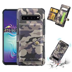 Camouflage Multi-function Leather Phone Case for Samsung Galaxy S10 5G (6.7 inch) - Gray