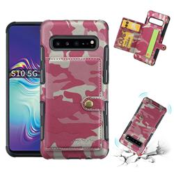 Camouflage Multi-function Leather Phone Case for Samsung Galaxy S10 5G (6.7 inch) - Rose