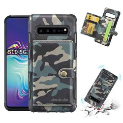 Camouflage Multi-function Leather Phone Case for Samsung Galaxy S10 5G (6.7 inch) - Army Green