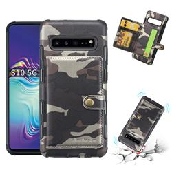 Camouflage Multi-function Leather Phone Case for Samsung Galaxy S10 5G (6.7 inch) - Coffee