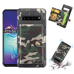 Camouflage Multi-function Leather Phone Case for Samsung Galaxy S10 5G (6.7 inch) - Purple