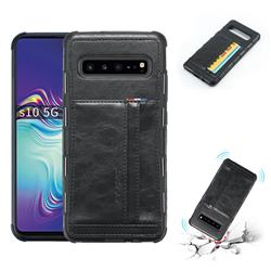 Luxury Shatter-resistant Leather Coated Card Phone Case for Samsung Galaxy S10 5G (6.7 inch) - Black