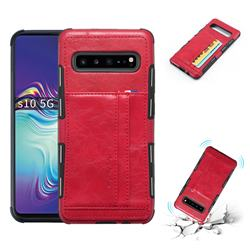 Luxury Shatter-resistant Leather Coated Card Phone Case for Samsung Galaxy S10 5G (6.7 inch) - Red