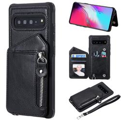 Classic Luxury Buckle Zipper Anti-fall Leather Phone Back Cover for Samsung Galaxy S10 5G (6.7 inch) - Black