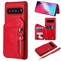 Classic Luxury Buckle Zipper Anti-fall Leather Phone Back Cover for Samsung Galaxy S10 5G (6.7 inch) - Red