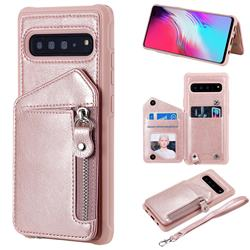 Classic Luxury Buckle Zipper Anti-fall Leather Phone Back Cover for Samsung Galaxy S10 5G (6.7 inch) - Pink