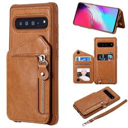 Classic Luxury Buckle Zipper Anti-fall Leather Phone Back Cover for Samsung Galaxy S10 5G (6.7 inch) - Brown
