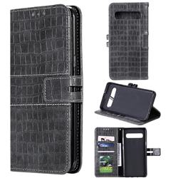 Luxury Crocodile Magnetic Leather Wallet Phone Case for Samsung Galaxy S10 5G (6.7 inch) - Gray