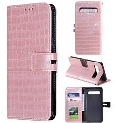 Luxury Crocodile Magnetic Leather Wallet Phone Case for Samsung Galaxy S10 5G (6.7 inch) - Rose Gold