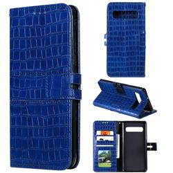 Luxury Crocodile Magnetic Leather Wallet Phone Case for Samsung Galaxy S10 5G (6.7 inch) - Blue