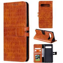 Luxury Crocodile Magnetic Leather Wallet Phone Case for Samsung Galaxy S10 5G (6.7 inch) - Brown