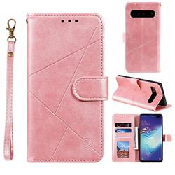 Embossing Geometric Leather Wallet Case for Samsung Galaxy S10 5G (6.7 inch) - Rose Gold