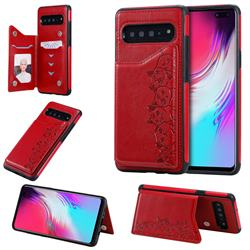 Yikatu Luxury Cute Cats Multifunction Magnetic Card Slots Stand Leather Back Cover for Samsung Galaxy S10 5G (6.7 inch) - Red