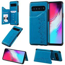 Yikatu Luxury Cute Cats Multifunction Magnetic Card Slots Stand Leather Back Cover for Samsung Galaxy S10 5G (6.7 inch) - Blue