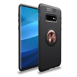 Auto Focus Invisible Ring Holder Soft Phone Case for Samsung Galaxy S10e(5.8 inch) - Black Gold