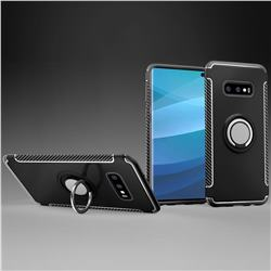 Armor Anti Drop Carbon PC + Silicon Invisible Ring Holder Phone Case for Samsung Galaxy S10e (5.8 inch) - Black