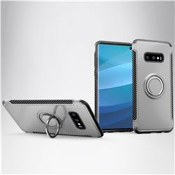 Armor Anti Drop Carbon PC + Silicon Invisible Ring Holder Phone Case for Samsung Galaxy S10e (5.8 inch) - Silver