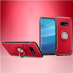 Armor Anti Drop Carbon PC + Silicon Invisible Ring Holder Phone Case for Samsung Galaxy S10e (5.8 inch) - Red
