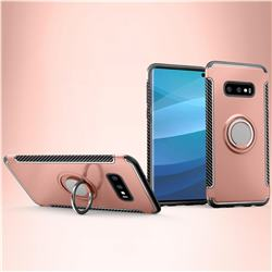 Armor Anti Drop Carbon PC + Silicon Invisible Ring Holder Phone Case for Samsung Galaxy S10e (5.8 inch) - Rose Gold