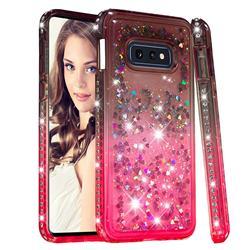 Diamond Frame Liquid Glitter Quicksand Sequins Phone Case for Samsung Galaxy S10e (5.8 inch) - Gray Pink