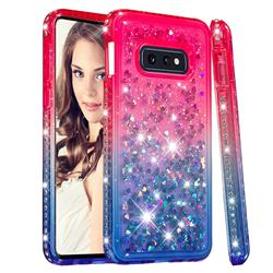 Diamond Frame Liquid Glitter Quicksand Sequins Phone Case for Samsung Galaxy S10e (5.8 inch) - Pink Blue