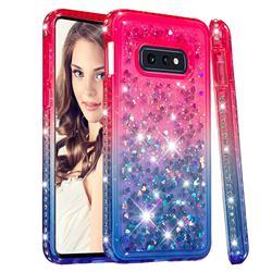 Diamond Frame Liquid Glitter Quicksand Sequins Phone Case for Samsung Galaxy S10e (5.8 inch) - Pink Blue