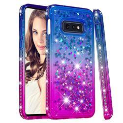 Diamond Frame Liquid Glitter Quicksand Sequins Phone Case for Samsung Galaxy S10e (5.8 inch) - Blue Purple