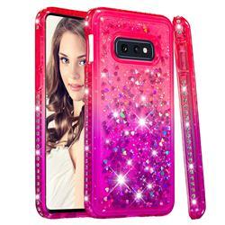 Diamond Frame Liquid Glitter Quicksand Sequins Phone Case for Samsung Galaxy S10e (5.8 inch) - Pink Purple