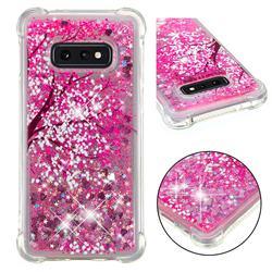 Pink Cherry Blossom Dynamic Liquid Glitter Sand Quicksand Star TPU Case for Samsung Galaxy S10e (5.8 inch)