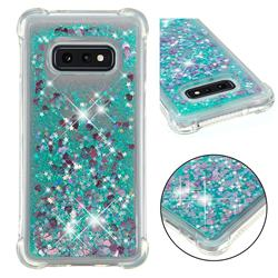 Dynamic Liquid Glitter Sand Quicksand TPU Case for Samsung Galaxy S10e (5.8 inch) - Green Love Heart