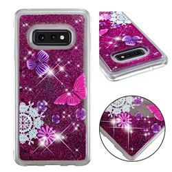 Purple Flower Butterfly Dynamic Liquid Glitter Quicksand Soft TPU Case for Samsung Galaxy S10e (5.8 inch)