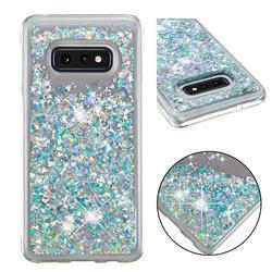 Dynamic Liquid Glitter Quicksand Sequins TPU Phone Case for Samsung Galaxy S10e (5.8 inch) - Silver