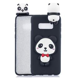 Red Bow Panda Soft 3D Climbing Doll Soft Case for Samsung Galaxy S10e (5.8 inch)