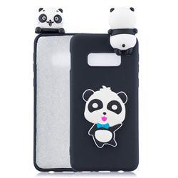 Blue Bow Panda Soft 3D Climbing Doll Soft Case for Samsung Galaxy S10e (5.8 inch)