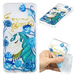 Blue Flower Unicorn Clear Varnish Soft Phone Back Cover for Samsung Galaxy S10e (5.8 inch)