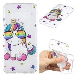 Glasses Unicorn Clear Varnish Soft Phone Back Cover for Samsung Galaxy S10e (5.8 inch)