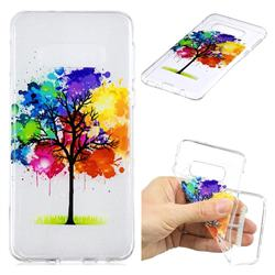 Oil Painting Tree Clear Varnish Soft Phone Back Cover for Samsung Galaxy S10e (5.8 inch)