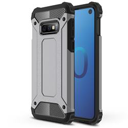 King Kong Armor Premium Shockproof Dual Layer Rugged Hard Cover for Samsung Galaxy S10e (5.8 inch) - Silver Grey