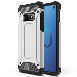 King Kong Armor Premium Shockproof Dual Layer Rugged Hard Cover for Samsung Galaxy S10e (5.8 inch) - Technology Silver