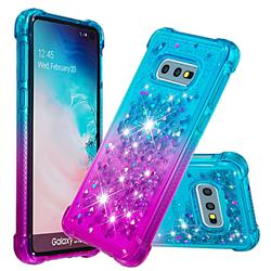 Rainbow Gradient Liquid Glitter Quicksand Sequins Phone Case for Samsung Galaxy S10e (5.8 inch) - Blue Purple